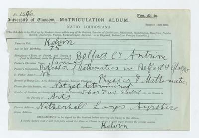 Lord Kelvin's matriculation record, 1899