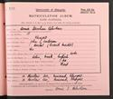 Annie Robertson's matriculation record, 1928