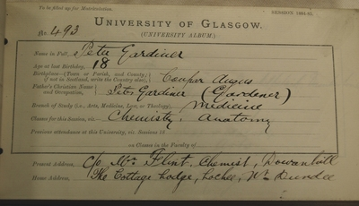 Peter Gardiner's First Matriculation Slip