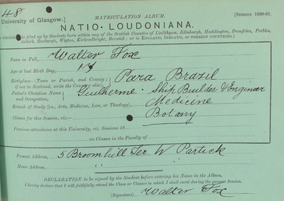 Walter Fox, Matriculation Slip 1880-81