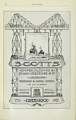 Advertisement for Scotts Shipbuilding and Engineering Company in Brassey's Naval Annual 1923