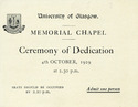 Ticket for Ceremony of Dedication