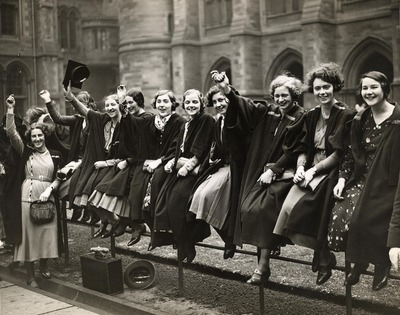 Women students cheering the Royal Visit 1933