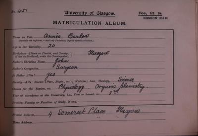 University of Glasgow :: Story :: Biography of Annie Barlow