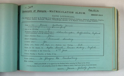 Matriculation slip for Jessie Jarvie (R8/5/35/10)