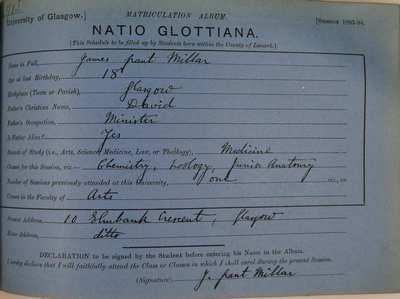 James Grant Millar's Matriculation Slip