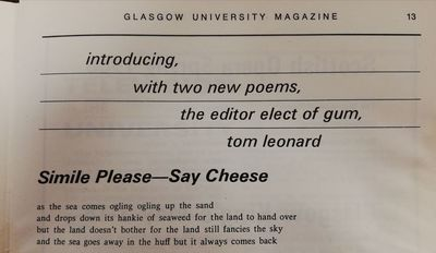 Tom Leonard Glasgow University Magazine 1968